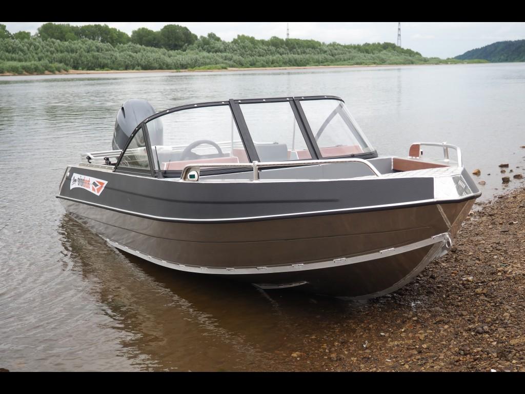 Алюминиевая лодка Orionboat 53Д двухконсольная, с промежуточными ветровой форточкой