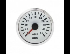 Амперметр аналоговый -/+50 А, белый циферблат, нержавеющий ободок, д. 52 мм