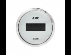 Амперметр цифровой -/+50 А, белый циферблат, нержавеющий ободок, д. 52 мм