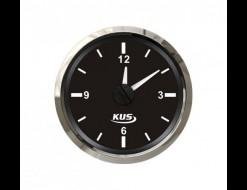 Часы кварцевые, аналоговый черный циферблат, нержавеющий ободок, д. 52 мм