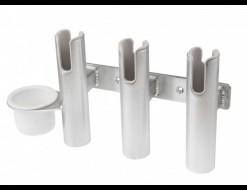 Подставка под удочку 3 стакана, алюминиевая с подстаканником