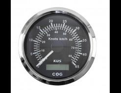 GPS-спидометр аналоговый 0-45 узлов, черный циферблат, нержавеющий ободок, выносная антенна, д. 85 мм