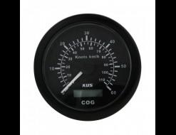GPS-спидометр аналоговый 0-60 узлов, черный циферблат, черный ободок, выносная антенна, д. 85 мм