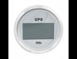 GPS-спидометр электронный, белый циферблат, нержавеющий ободок, выносная антенна, д. 85 мм