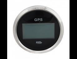 GPS-спидометр электронный, черный циферблат, нержавеющий ободок, выносная антенна, д. 85 мм