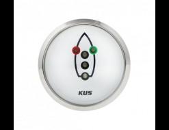 Индикатор включения ходовых огней, белый циферблат, нержавеющий ободок, д. 52 мм
