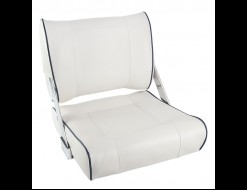 Кресло мягкое с перекидной спинкой белого цвета и синим кантом