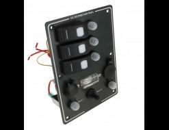 Панель бортового питания 3 переключателя с автоматами, прикуривателем и розеткой