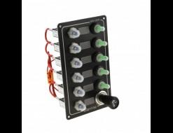 Панель управления на 5 переключателей влагозащищенных с разъемом прикуривателя