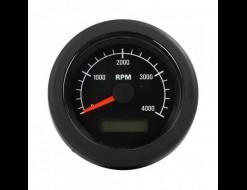 Тахометр 0-4000 об/мин с счетчиком моточасов, 12/24 В, черный