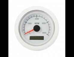 Тахометр 0-4000 об/мин со счетчиком моточасов, 12/24 В, белый