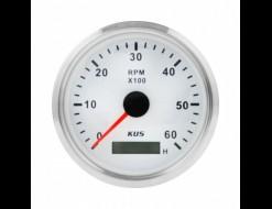 Тахометр 0-6000 об/мин со счетчиком моточасов делитель 0.5-250, белый циферблат, нержавеющий ободок, д. 85 мм