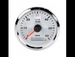 Тахометр 0-6000 об/мин со счетчиком моточасов делитель 1-10, белый циферблат, нержавеющий ободок, д. 85 мм
