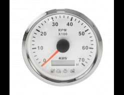 Тахометр 0-7000 об/мин с аварийной сигнализацией делитель 1-10, белый циферблат, нержавеющий ободок, д. 85 мм