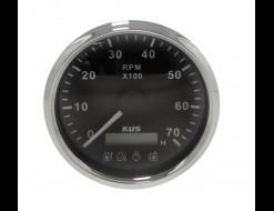 Тахометр 0-7000 об/мин с аварийной сигнализацией делитель 1-10, черный циферблат, нержавеющий ободок, д. 85 мм