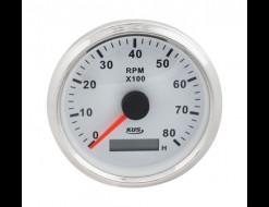 Тахометр 0-8000 об/мин со счетчиком моточасов делитель 1-10, белый циферблат, нержавеющий ободок, д. 85 мм
