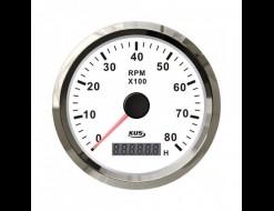 Тахометр 0-8000 об/мин со счетчиком моточасов делитель 0.5-250, белый циферблат, нержавеющий ободок, д. 85 мм