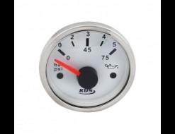 Указатель давления масла 0-5 бар, белый циферблат, нержавеющий ободок, д. 52 мм