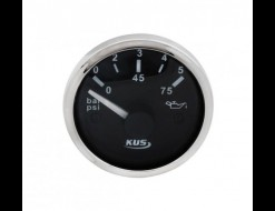 Указатель давления масла 0-5 бар, черный циферблат, нержавеющий ободок, д. 52 мм