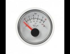 Указатель давления масла, 12 В, 0-8 бар, белый
