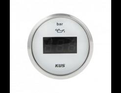Указатель давления масла цифровой 0-5 бар, белый циферблат, нержавеющий ободок, д. 52 мм