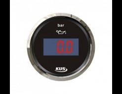 Указатель давления масла цифровой 0-5 бар, черный циферблат, нержавеющий ободок, д. 52 мм