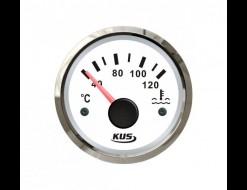 Указатель температуры двигателя 40-120 гр., белый циферблат, нержавеющий ободок, д. 52 мм
