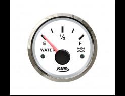 Указатель уровня пресной воды 0-190 Ом (ЕВРО), белый циферблат, нержавеющий ободок, д. 52 мм