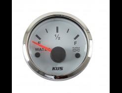 Указатель уровня пресной воды 240-33 Ом (US), белый циферблат, нержавеющий ободок, д. 52 мм