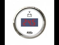 Вольтметр цифровой 8-32 В, белый циферблат, нержавеющий ободок, д. 52 мм